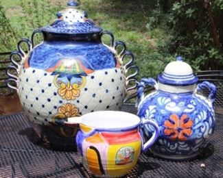 """Talavera Large Hand painted urn with lid 20""""H x 19"""" D  and Talavera hand-painted urn with lid 12""""H x 10"""" D"""