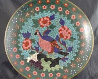 Cloisonné 12 inch Vintage pheasant plate
