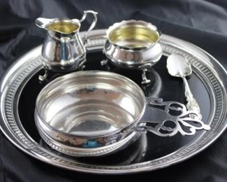 Wallace Sterling modernique 12 inch round tray. Tiffany and Company sterling porringer makers sterling silver Original in Clearwater Collection Metropolitan Museum of art heavy sterling reproduction original by Paul revere Boston