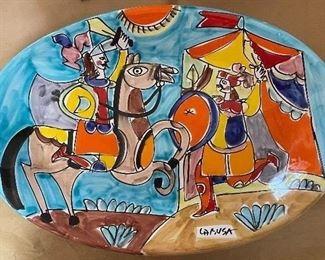 "Di Simone LaMusa Hand Painted in the style of Picasso ""Don Quixote"" Platter (19.5"" x 13.5"")"