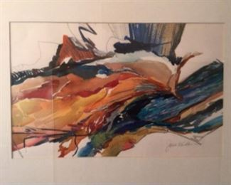 """""""SWIFT BLUE"""" Original Art by Jane Paden.  Image: 17"""" x 11"""". Matted with Chrome Frame (24"""" x 18"""")"""