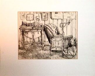 Original  Matted Ink on Paper  by Jane Paden 22 x 18
