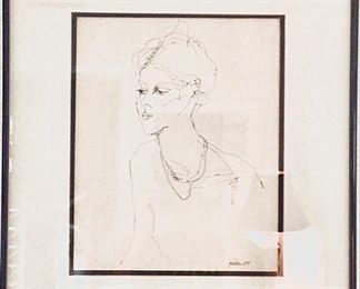 """Wednesday  Original pen and Ink Drawing by Jane Paden 1979 image 11"""" x 14"""" frame and matted 18 1/4"""" x 22 1/4"""""""