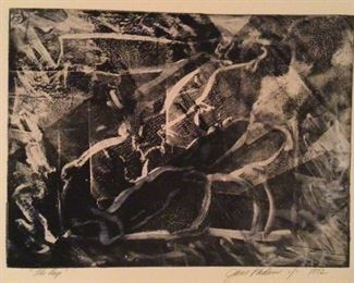 """""""The Deep"""" Signed by Artist Jane Paden 1992.   Overall 22"""" x 15"""". Image on paper (14 1/2"""" x 11"""")"""