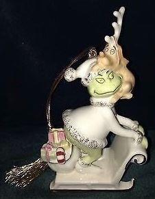 """LENOX Dr. Seuss """"Grinchiest Sleight Ride"""". Porcelain Ornament"""