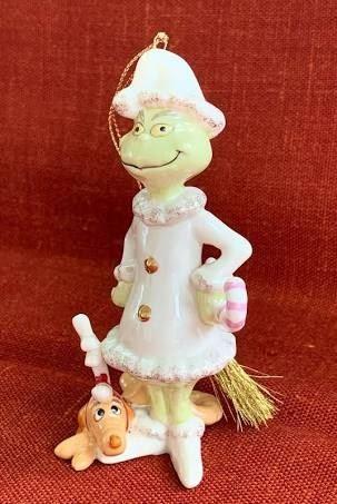 "LENOX Dr. Seuss ""A Very Grinchy Christmas"". Grinch with Max Porcelain Ornamenty"