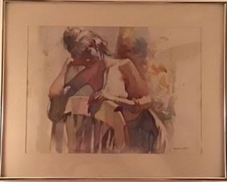 """Original Watercolor by Robert E Wood """"A Study in Nude"""" (Image 30"""" x 20"""" matted and framed 38 1/2"""" x 30 1/2"""")"""