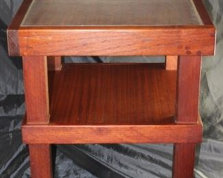 Vintage Heavy Block Square  2-Tier Table with Plexiglass insert.