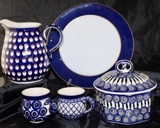 Heise Pottery Bunzlau Germany - covered Casserole, Pitcher, and mugs right