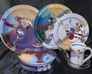 Assorted Mike Grafa Austin Pottery dinner plates, covered tortilla bowl, mugs, salad plates