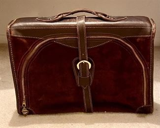 """Brown Suede and Smooth Leather Belted Satchel/Travel Bag with back outside zipper (18.5""""H x 14""""W x 5""""D)"""