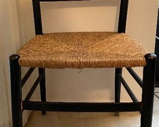 Black Ladder Back Chair with Rush Seat in the Italian Gio Ponti Style (1 of 3 shown)