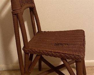 Antique Wicker Side Chair.  Side View
