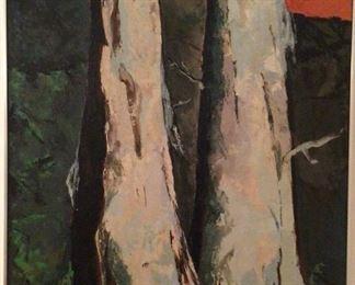 """Dead Cottonwoods"" Original Oil on Canvas by Doris E. O'Brien 36"" x 50"" with Chrome Frame c. 1970's"