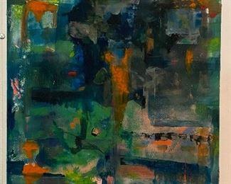 """Shades of Green"" Original Art by Jane Paden              (22"" x 14.5"" - Image 14"" x 14"")"