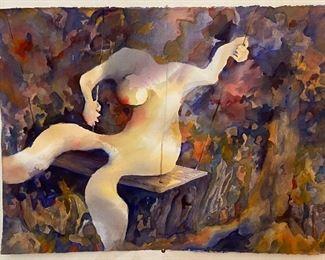 """Nude on Swing Original Watercolor Art by Jane Paden (13: x 22"""") Unframed"""