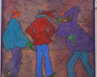 "Original Casien Art by Jane Paden on Canvas (6"" x 6"" 1.5"") Block Art ""Against the Wind"""