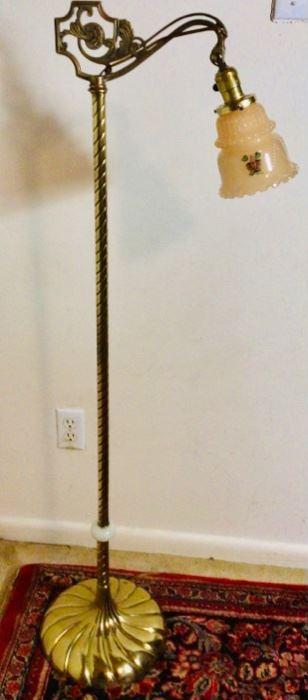 Antique Art Nouveau Victorian Brass Bridge Floor Lamp with Hand Painted Glass Shade