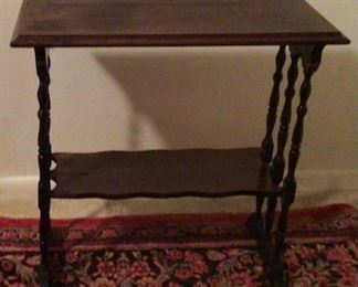 """Antique 2 Tier side Table with 6 Turned Spindle Legs (24""""W x 12""""D x 24""""H)"""