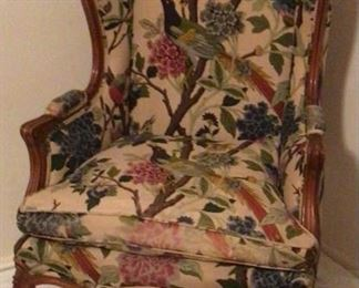 Pair  Early 20th Century Wood Framed Wing Back Chairs (1 of 2 Shown )