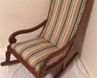 Antique Solid Wood Frame Scroll Arm Rocker with Striped Upholstery