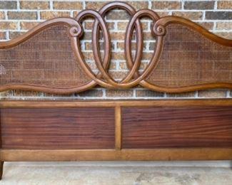 Vintage Kingsize solid Wood Bed Frame with Cane Panels complete with metal side rails.