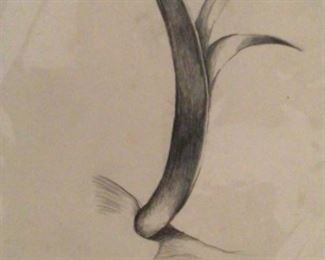 "Jane Paden ""Spout"" Original Charcoal Drawing (7.5"" x 8.5"")"