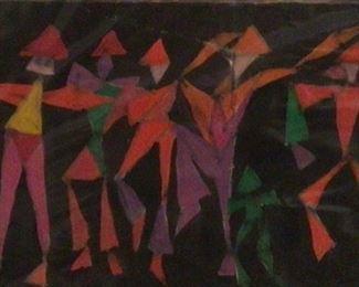 """Jane Paden """"Calypso Dancing"""" original Casein Artwork (8.5 x 5.5"""")"""