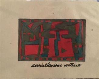 "Jane Paden Original  Art ""Semultaneous Contrast"" 11"" x. 7.5"". Image 6.4"" x 4"""