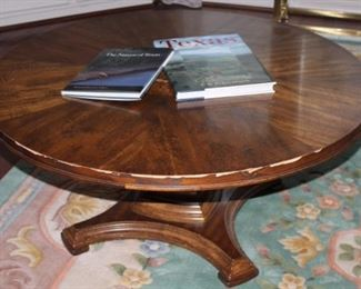 Round Oak Coffee Table Raises to Dining Height, serving as an extra  Dining Table
