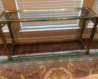 Brass Asian Inspired Glass Top Sofa Table