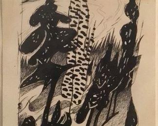 "Miles G Batts ""Yosemite Hillside""Original Artwork on Paper Signed 1992"