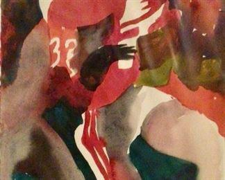 """Jane Paden Original Football #32 Watercolor11"""" x 15"""""""