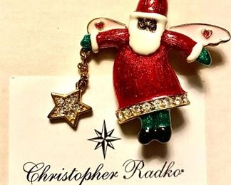 Christopher Radko Santa Pin inspired by original artwork from a pediatric cancer patient