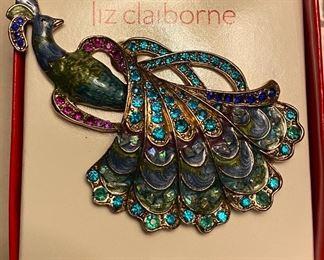 Liz Claiborne Enamel Rhinestone Peacock Pin
