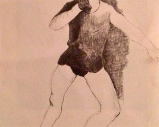 """Jane Paden Charcoal Pen and Ink """"Ballet Lessons""""    (11"""" x 15"""")"""