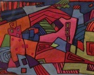 """""""My Town"""" Original Casein Artwork by Jane Paden (9"""" x 6"""")"""