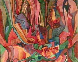 "Jane Paden Original Watercolor Abstract on Paper      (9"" x 8"")"