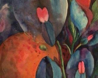 "Jane Paden Original Watercolor ""Snap Dragons"".      Unframed  (11"" x 14"")"