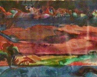 "Jane Paden Original Watercolor Signed, 22"" x 11"" (unframed)"