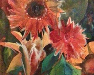 "Jane Paden Original Watercolor ""Sunflowers"".              (11""x15"")"