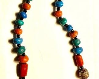 Vintage African Oversized Amber Beads with Red Coral and Turquoise Necklace