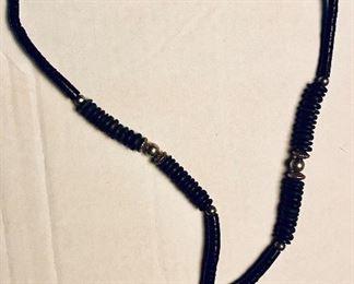 Vintage Onyx Heshishi Beads with Hammered Sliver Oval Bone and Onyx Pendant