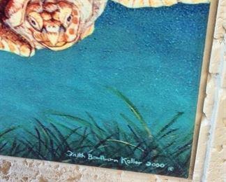 "Sea Turtles Painted Tiles by Faith Bradburn Keller, 2000, 19"" x 19""."