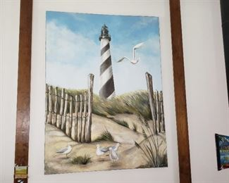 Large Folksy Cape Hatteras Lighthouse Painting. It's the next best thing to being there.