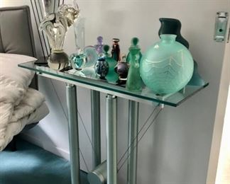 Modern end table & Glass perfume bottle collection