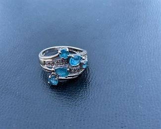 Lot #004---10kw Blue Topaz Ring with diamonds, weight: 4.1g, size: 7.5, price: $195