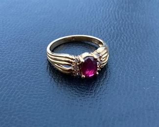 Lot #007---18ky Top-Quality Ruby and Diamond Ring , weight: 3.9g, size: 6.75, price: $450