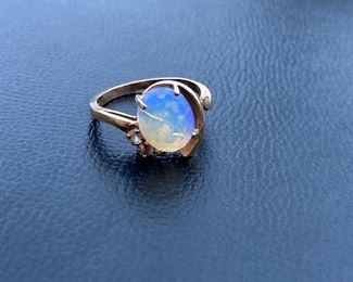 Lot #008---10ky Opal and Diamond Ring 8 x 10mm, weight: 1.9g, size: 6, price: $175