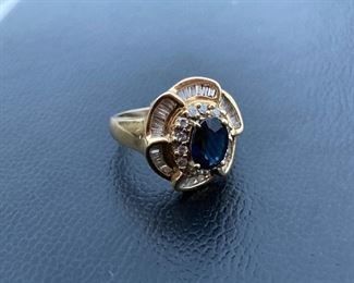 Lot #12--- 14ky Sapphire 8 x 6 and Diamond Ring, weight: 6.1g, diamond weight: 1.00ct, size: 6.5, price: $740